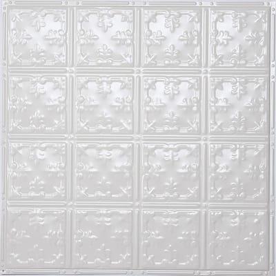 Pattern #21 24 in. x 24 in. Bright White Gloss Tin Wall Tile Backsplash Kit (5 pack)