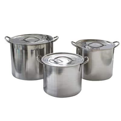 3-Piece Stainless Steel Stock Pot Set