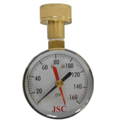 160 PSI Water Test Gauge with Indicator Arm and 3/4 in. Female Brass Hose Connection