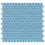 Hudson Penny Round Light Blue 12 in. x 12-5/8 in. x 5 mm Porcelain Mosaic Tile (10.74 sq. ft. / case)