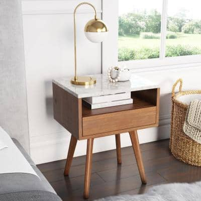 James Brown Walnut Wood White Faux Marble Top Rectangular Storage Accent Sofa Side Table End Table