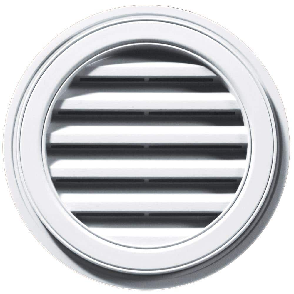 Builders Edge 18 In X 18 In Round White Plastic Built In Screen Gable Louver Vent 120031818001 The Home Depot
