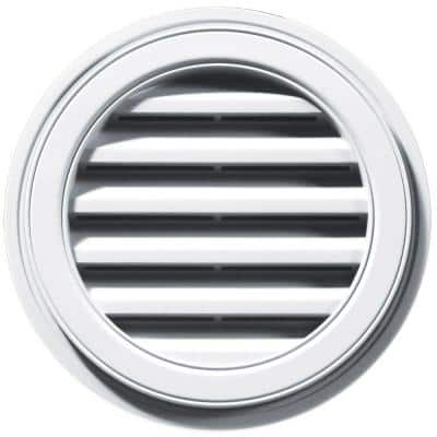 18 in. x 18 in. Round White Plastic Built-in Screen Gable Louver Vent