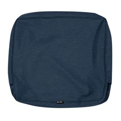 Montlake Water-Resistant 21 in. x 20 in. x 4 in. Patio Back Cushion Slip Cover, Heather Indigo Blue