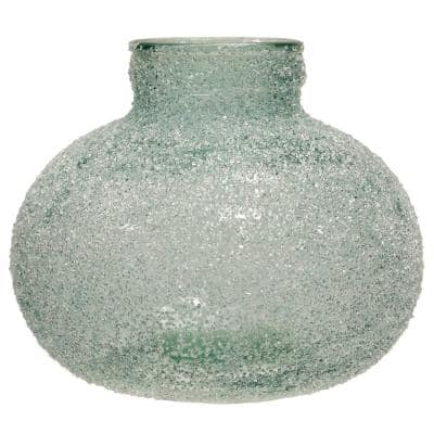 Translucent Blue Crackle Glass Round Vase