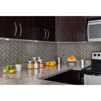 Champagne Bevel Herringbone 11.08 in. x 13.86 in. x 8mm Glass Mesh-Mounted Mosaic Tile (10.6 sq. ft. / case)