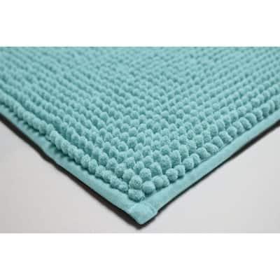 Plush Chenille Aqua 17 in. x 24 in. Memory Foam 2-Piece Bath Mat Set