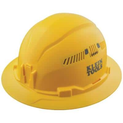 Yellow Hard Hat, Vented, Full Brim