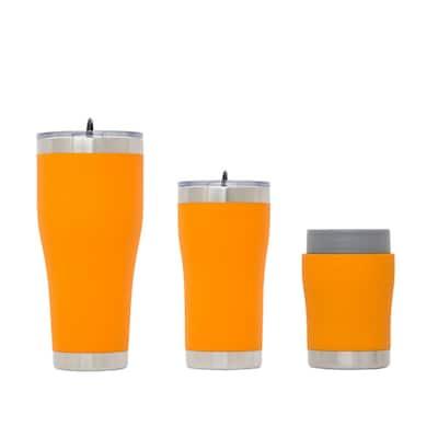 Chillski 12 oz. Tumbler, 20 oz. Tumbler with Lid and 30 oz. Tumbler Light Orange Drink Set with Lid (3-Pack)