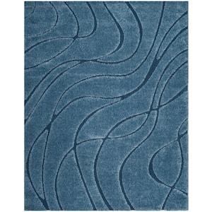 Florida Shag Light Blue/Blue 8 ft. x 10 ft. Solid Area Rug