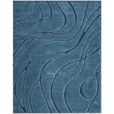 Florida Shag Light Blue/Blue 9 ft. x 12 ft. Solid Area Rug
