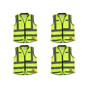 Milwaukee Large X Large Yellow Class 2 High Visibility Safety Vest With 10 Pockets 4 Pack 48 73 5022x4 The Home Depot