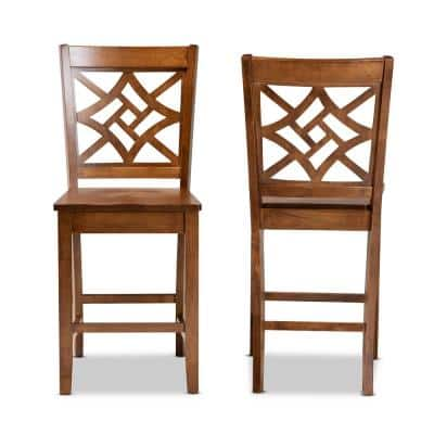 Nicolette 24.2 in. Walnut Brown Counter Stool (Set of 2)