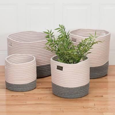 Cortland 16 in. x 16 in. x 18 in. Grey Round Polypropylene Basket