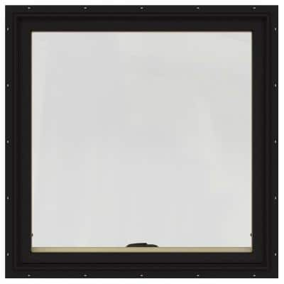 36 in. x 36 in. W-2500 Series Black Painted Clad Wood Awning Window w/ Natural Interior and Screen