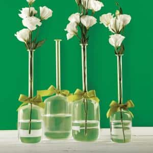 4-Sizes Sleek and Chic with Sage Green Ribbon Includes Clear Jug Vases (Set of 4)
