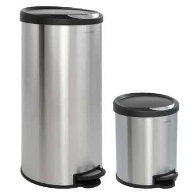 Oscar Round 8 Gal. Step-Open Stainless Steel Trash Can with Free Mini Trash Can Black