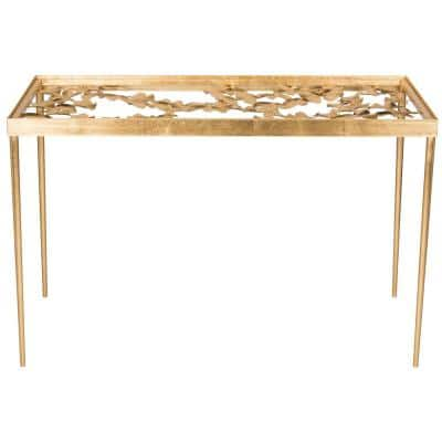 47 in. Rectangular Gold/Clear Writing Desks with Glass Top