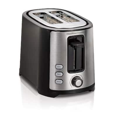 750-Watt 2-Slice Black and Stainless Steel Wide Slot Toaster