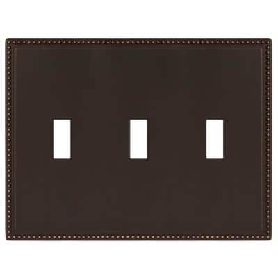 Perlina 3 Gang Toggle Metal Wall Plate - Aged Bronze
