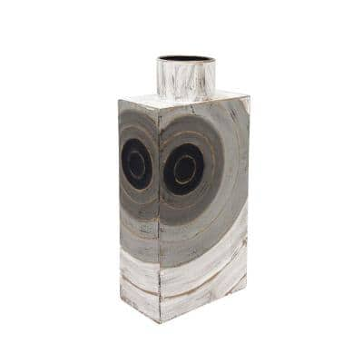 15 in. Grey Metal Box Vase