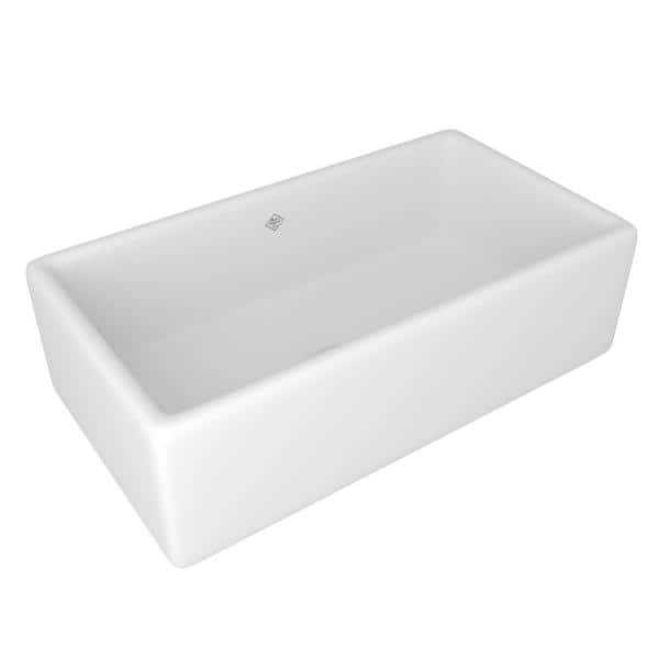 Shop Lancaster Farmhouse/Apron-Front Fireclay 33 in. Single Bowl Kitchen Sink in White from Home Depot on Openhaus