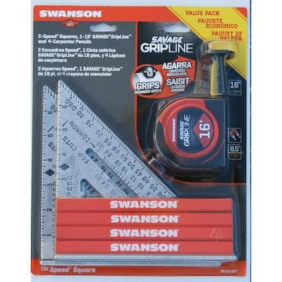 Speed Square, Pencil, Tape Measure Tool Value Pack