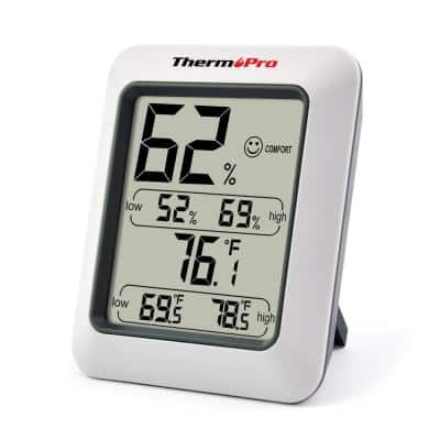 Gray LCD Indoor Thermometer Temperature and Humidity Monitor with Hygrometer