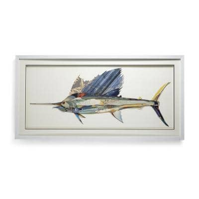 Swordfish Paper Collage Framed Nature Wall Art 25 1/2 in. x 51 in.