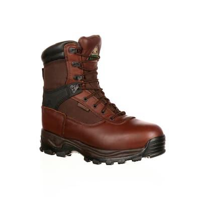 Men's Sport Utility Waterproof 9 inch Lace Up Work Boots - Steel Toe - Brown 8 (M)