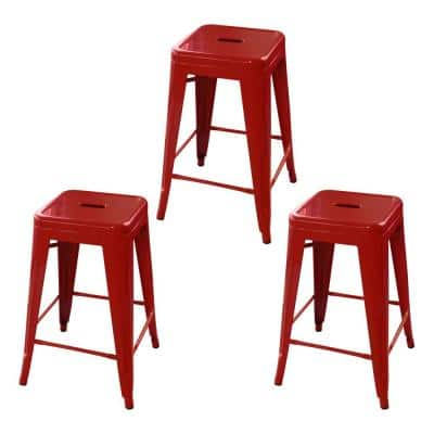 Loft Style 24 in. Red Stackable Metal Bar Stool (Set of 3)