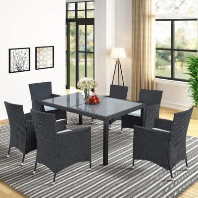 Black 7-Piece Wicker Outdoor Dining Set with Beige Cushion