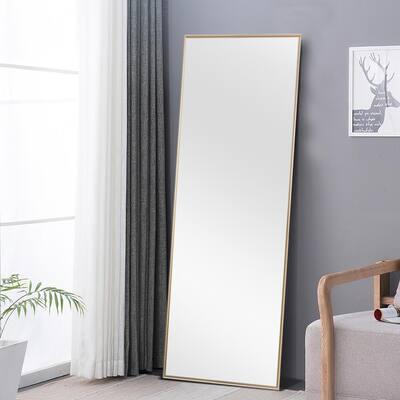 Large Gold Metal Modern Mirror (59 in. H X 20 in. W)
