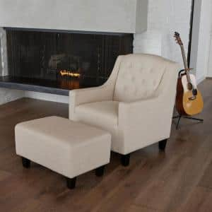Deals on Noble House Elaine Light Beige Fabric Chair and Ottoman Set