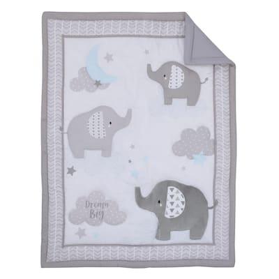 Elephant Stroll Dream Big Clouds and Stars 3-Piece Nursery Crib Bedding Set (Comforter Fitted Crib Sheet and Crib Skirt)