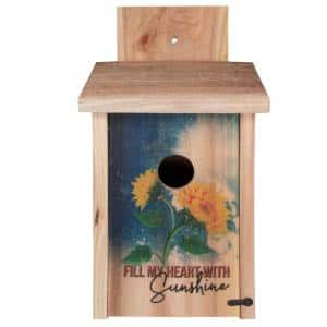 Decorative Sunflower Design Cedar Blue Bird House