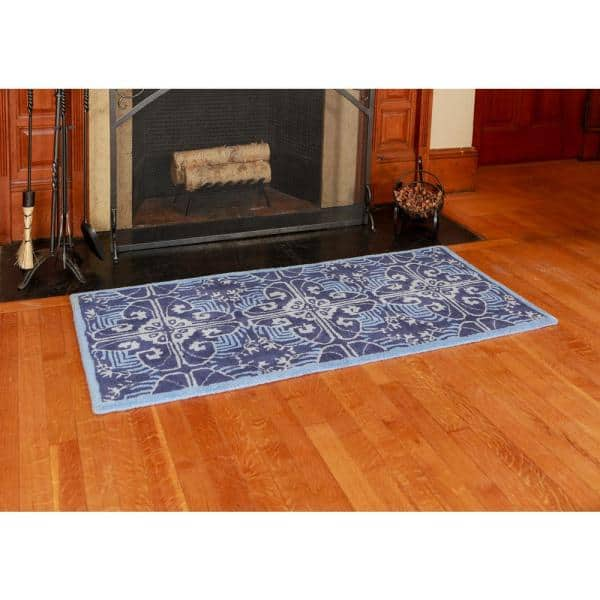 Art Deco Classic Rectangular Hearth Rug 56 Inch Long Prussian Blue H 70 The Home Depot