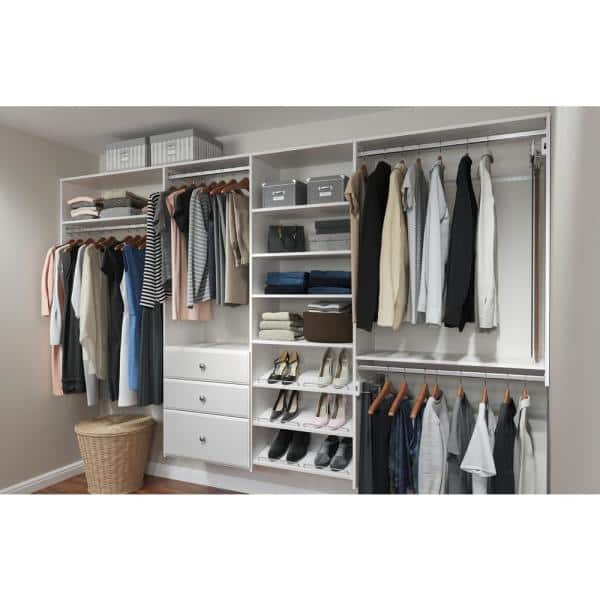 Closet Evolution Dual Tower 96 In W 120 In W Classic White Wood Closet System Wh34 The Home Depot
