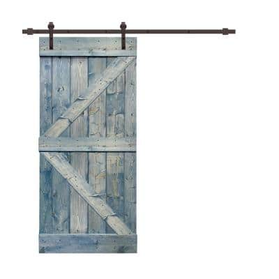 K Series 42 in. x 84 in. Solid Denim Blue Stained Pine Wood Interior Sliding Barn Door with Hardware Kit