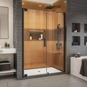 Elegance-LS 56 in. to 58 in. W x 72 in. H Frameless Pivot Shower Door in Satin Black