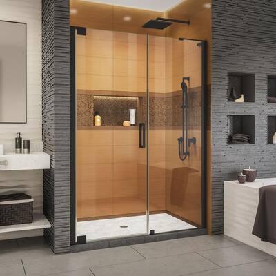 Elegance-LS 57-3/4 in. to 59-3/4 in. W x 72 in. H Frameless Pivot Shower Door in Satin Black
