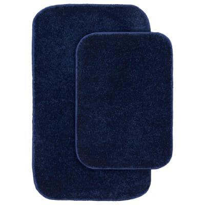 Gramercy Navy Solid Polypropylene 2-Piece Bath Mat Set