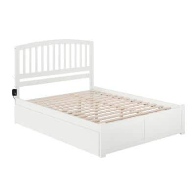 Richmond White Queen Bed with Footboard and Twin Extra Long Trundle