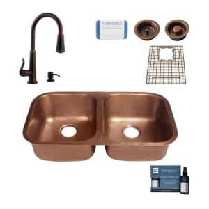 Kandinsky All-in-One Copper Sink 32-1/4 in. Double Bowl 50/50 Undermount Kitchen Sink with Pfister Faucet and Drains