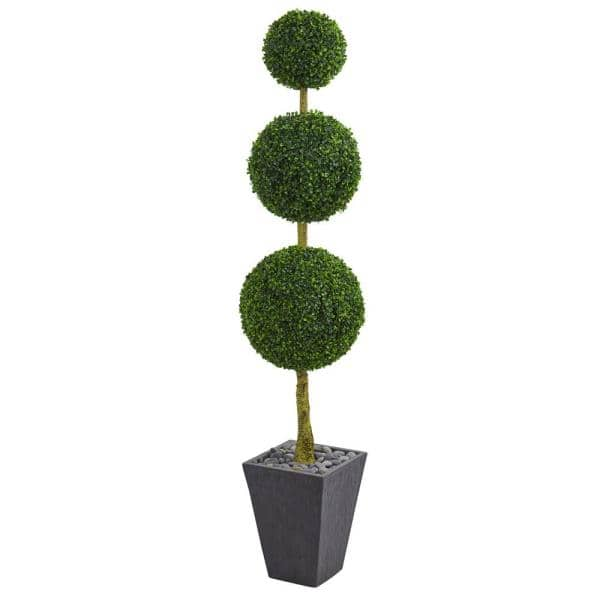 Nearly Natural 6 Ft High Indoor Outdoor Boxwood Triple Ball Topiary Artificial Tree In Slate Planter 5613 The Home Depot