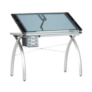Futura Collection 38 in. W Silver/Blue Glass Metal and Glass Craft Table with Storage and Angle Adjustable Top