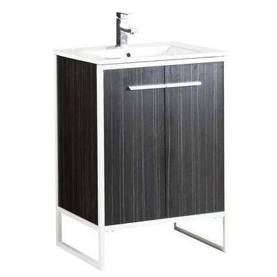Vdara 24 in. W x 18.11 in. D x 33.5 in. H Bathroom Vanity side cabinet in Dawn Gray with White Ceramic Top