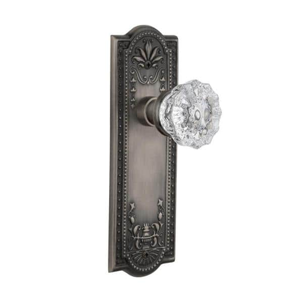 Nostalgic Warehouse Meadows Plate 2 3 8 In Backset Antique Pewter Privacy Bed Bath Crystal Glass Door Knob 704304 The Home Depot
