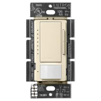 Maestro LED+ Dimmer and Motion Sensor, Single Pole and Multi-Location, Almond