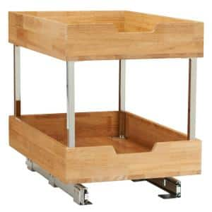14.5 in. 2-Tier Pull-Out Wood Cabinet Organizer